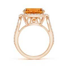 Toggle Vintage Style GIA Certified Cushion Citrine Split Shank Ring
