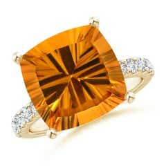 GIA Certified Cushion Citrine Solitaire Ring with Diamonds