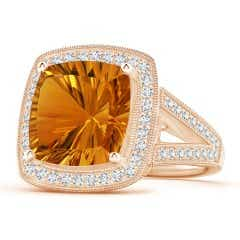 GIA Certified Cushion Citrine Split Shank Halo Ring