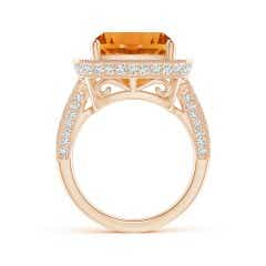 Toggle GIA Certified Cushion Citrine Split Shank Halo Ring