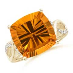 GIA Certified Cushion Citrine Crossover Shank Ring
