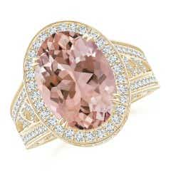 Vintage Style Oval Morganite Split Shank Halo Ring