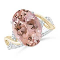 Two Tone Oval Morganite Crossover Shank Ring with Diamonds