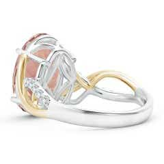 Toggle Two Tone Oval Morganite Crossover Shank Ring with Diamonds