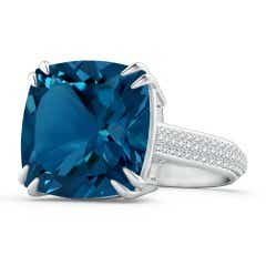 Cushion London Blue Topaz Solitaire Ring with Pave Diamonds