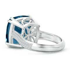 Toggle Cushion London Blue Topaz Solitaire Ring with Pave Diamonds