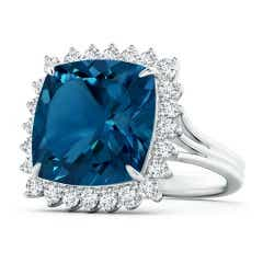 Cushion London Blue Topaz Cocktail Ring with Floral Halo