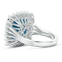 Toggle Cushion London Blue Topaz Cocktail Ring with Floral Halo