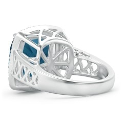 Toggle Cushion London Blue Topaz Halo Ring with Geometric Motifs