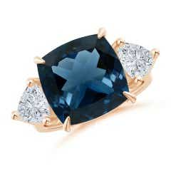 GIA  Certified London Blue Topaz Classic Three Stone Ring