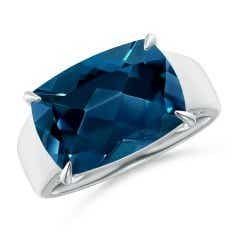 Horizontal Cushion London Blue Topaz Cocktail Ring