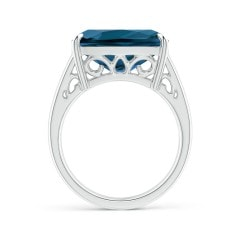 Toggle Horizontal Cushion London Blue Topaz Cocktail Ring