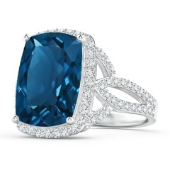 Rectangular Cushion London Blue Topaz Twist Ring with Halo