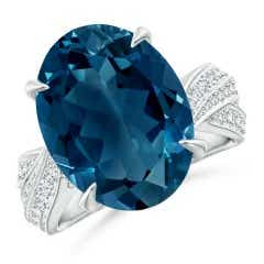 Oval London Blue Topaz Twisted Shank Ring with Diamonds