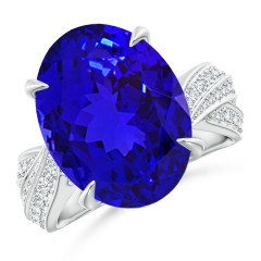 Oval GIA Certified Tanzanite Crossover Shank Ring