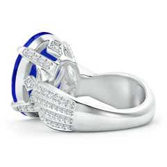 Toggle Oval GIA Certified Tanzanite Crossover Shank Ring