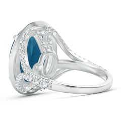 Toggle Claw-Set Oval London Blue Topaz Cocktail Ring