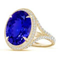 Claw-Set GIA Certified Oval Tanzanite Cocktail Ring
