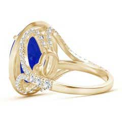 Toggle Claw-Set GIA Certified Oval Tanzanite Cocktail Ring