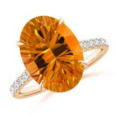 Angara Classic GIA Certified Cushion Citrine Crossover Shank Ring