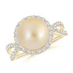 Angara Golden South Sea Cultured Pearl Halo Ring with Milgrain XUszLTO13a