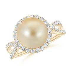 Golden South Sea Cultured Pearl Twisted Split Shank Ring