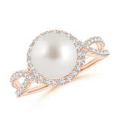 South Sea Cultured Pearl and Diamond Halo Ring