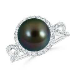 Tahitian Cultured Pearl and Diamond Halo Ring