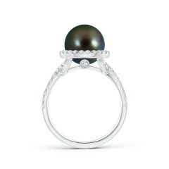 Toggle Tahitian Cultured Pearl and Diamond Halo Ring