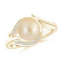 Angara Golden South Sea Cultured Pearl Ring with Cluster Diamonds CfWgH6