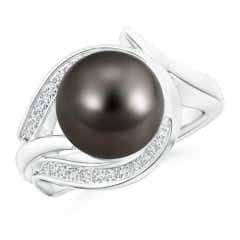 Tahitian Cultured Pearl and Diamond Loop Ring