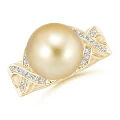 Angara South Sea Cultured Pearl Ring with Diamond Pear Motifs Xo7MJZ