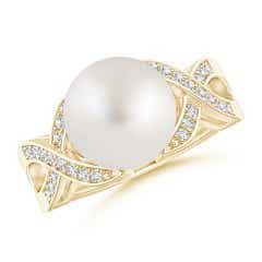 South Sea Cultured Pearl and Diamond Criss Cross Ring