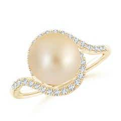 Golden South Sea Cultured Pearl and Diamond Swirl Bypass Ring