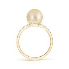 Toggle Golden South Sea Cultured Pearl and Diamond Swirl Bypass Ring