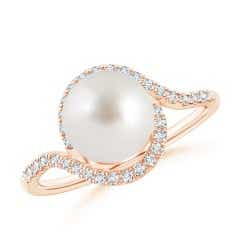 South Sea Cultured Pearl and Diamond Swirl Bypass Ring