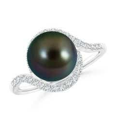 Tahitian Cultured Pearl and Diamond Swirl Bypass Ring