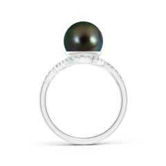 Toggle Tahitian Cultured Pearl and Diamond Swirl Bypass Ring