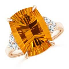 GIA Certified Rectangular Cushion Citrine Ring with Diamonds
