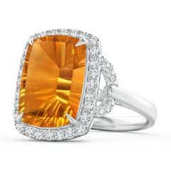 GIA Certified Rectangular Cushion Citrine Cocktail Ring