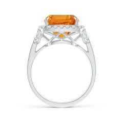 Toggle GIA Certified Rectangular Cushion Citrine Cocktail Ring