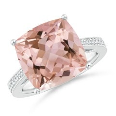 Solitaire Cushion Morganite Reverse Tapered Shank Ring