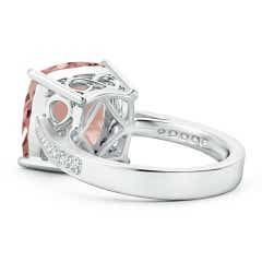 Toggle Solitaire Cushion Morganite Reverse Tapered Shank Ring