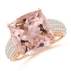 Cushion Morganite Solitaire Ring with Pave-Set Diamonds