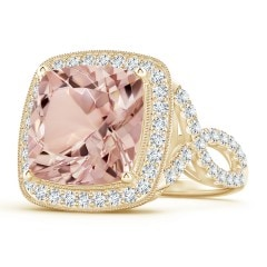 Cushion Morganite Crossover Ring with Diamond Halo