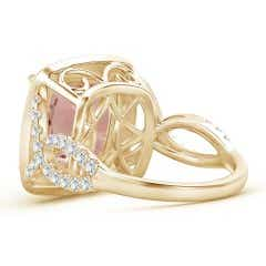 Toggle Cushion Morganite Crossover Ring with Diamond Halo