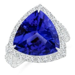 Angara GIA Certified Oval Tanzanite Ring with Baguette Diamonds