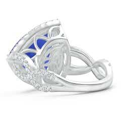 Toggle Trillion GIA Certified Tanzanite Crossover Shank Ring