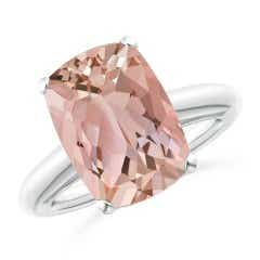 Rectangular Cushion Morganite Classic Solitaire Ring