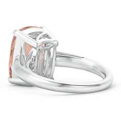 Toggle Rectangular Cushion Morganite Classic Solitaire Ring